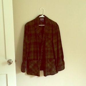 Men's Wool Duster Coat Size M/L Plaid w/ Pockets